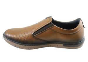 Pegada Justin Mens Leather Slip On Comfort Casual Shoes Made In Brazil