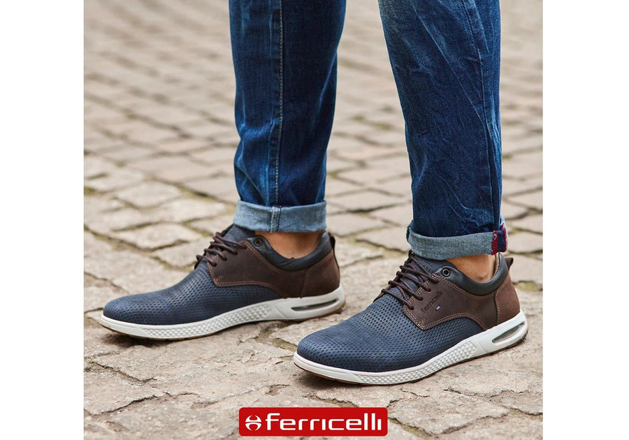Ferricelli Burke Mens Leather Lace Up Casual Shoes Made In Brazil