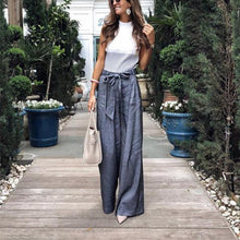 Load image into Gallery viewer, Solid Color Tie Wide Leg Pants