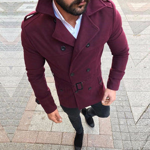 Men's Fashion Plain Lapel Double Button Belt Coat