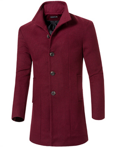 Mens Fashion Basic Long Wool Coat