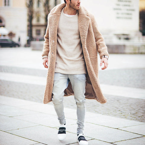 Men's Fashion Mens Thicken Warm Wool Plain Outerwear