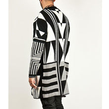 Load image into Gallery viewer, Casual Geometry Printed Knit Sweater Coat