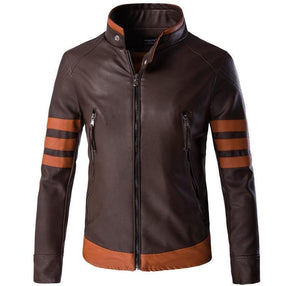 High-End Leather Motorcycle Leather Logans  Bomber Casual Standing Collar Mans Coats Jacket