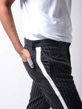 Black Ankle Pants Bold Stripes
