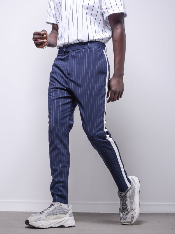 Navy Ankle Pants Bold Stripes