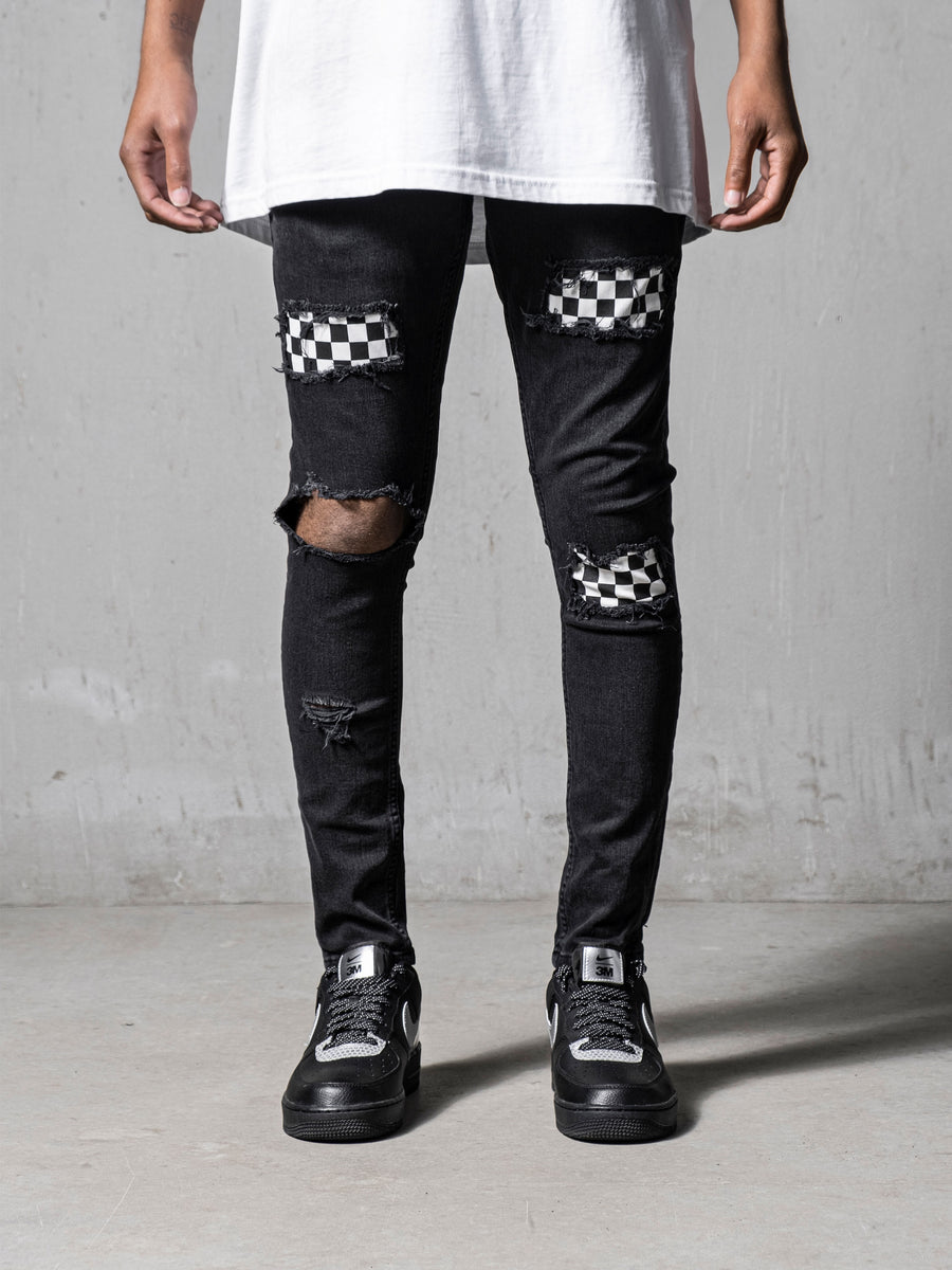Checkered Jeans - Black