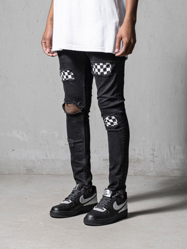 Black Chequered Jeans