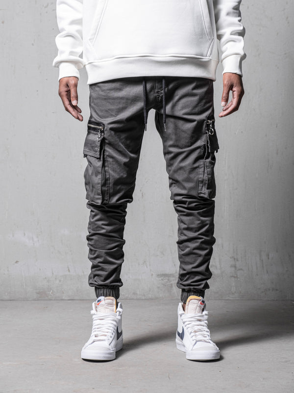 Grey Cargo Slim Fit Pants