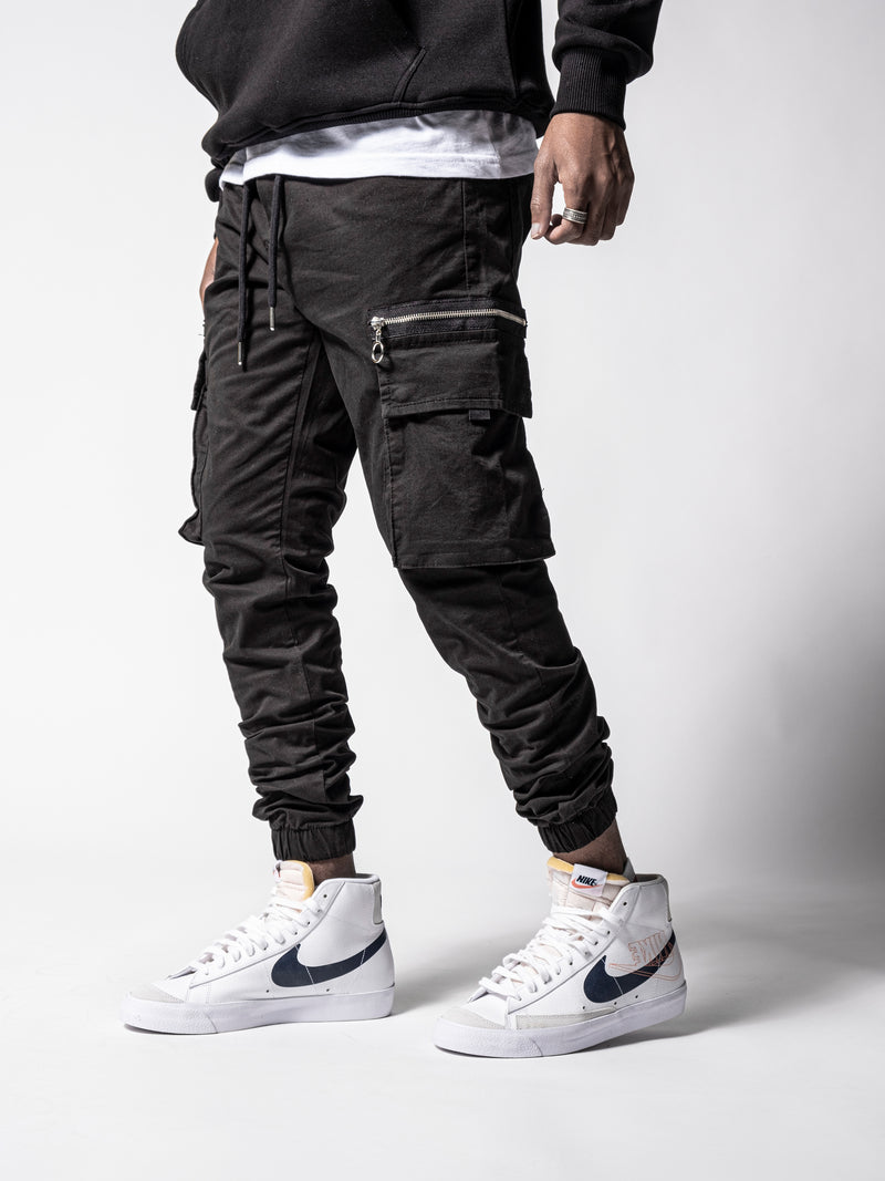 Black Cargo Slim Fit Pants
