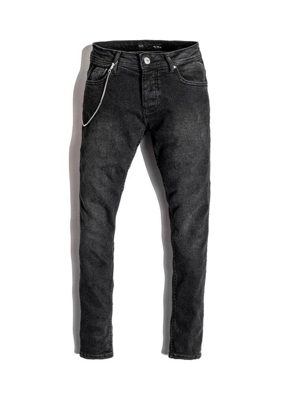 Monocloth Men's Black Skinny Jeans with chain detais