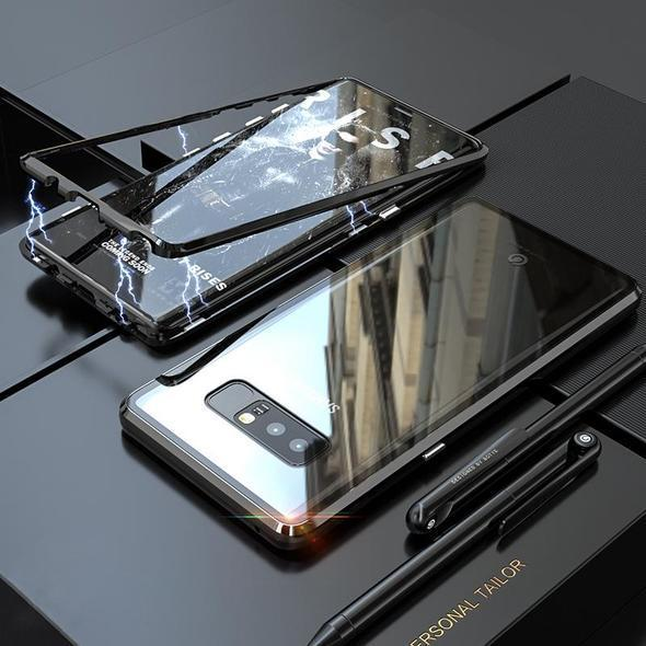 Transparent Tempered Glass Magnetic Adsorption Phone Case for Samsung Note 8