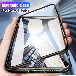 Luxury Magnetic Adsorption Metal Case For Huawei Y6 Y7 Y9
