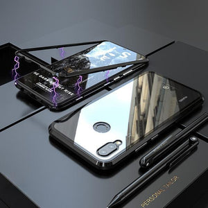 Magnetic Adsorption Transparent Tempered Glass Phone Case For Huawei P20 Lite