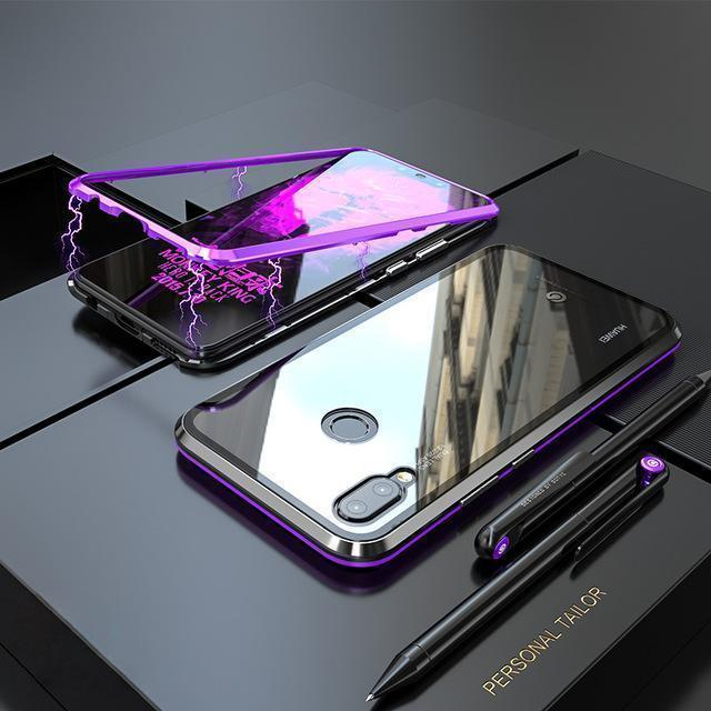 Magnetic Adsorption Transparent Tempered Glass Phone Case For Huawei Nova 3 / Nova 3i