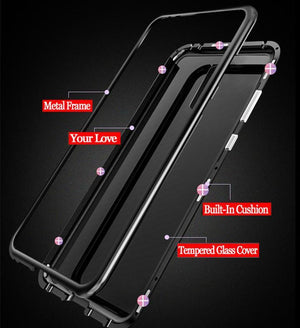 Tempered Glass Magnetic Adsorption Phone Case for Oneplus 6/6T/5T - Black - Oneplus 6