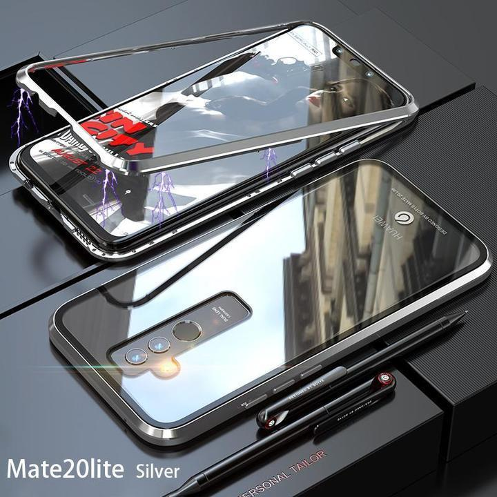 Magnetic Metal Aluminum Alloy Transparent Glass Armor Protect Phone Case for Huawei Mate 20 Lite