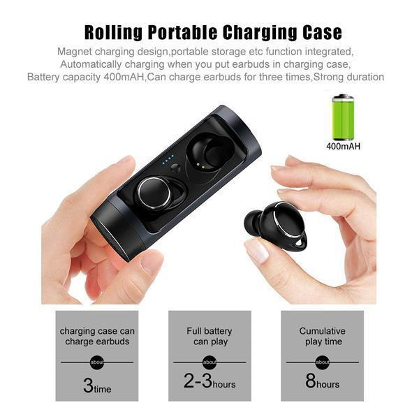 TWS Bluetooth Earphones with Rotatable Charging Case