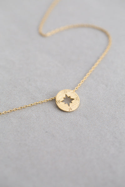 Compass Gold Charm Necklace