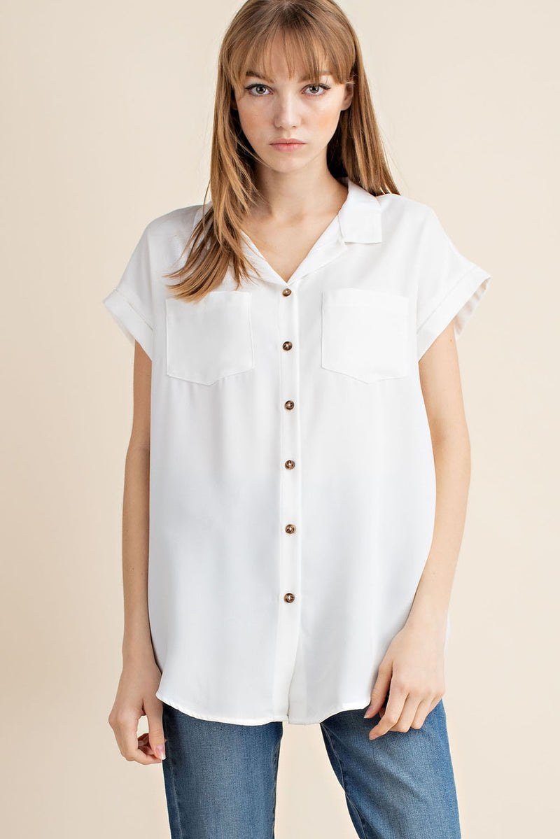 the Capsule Button Down Blouse | White