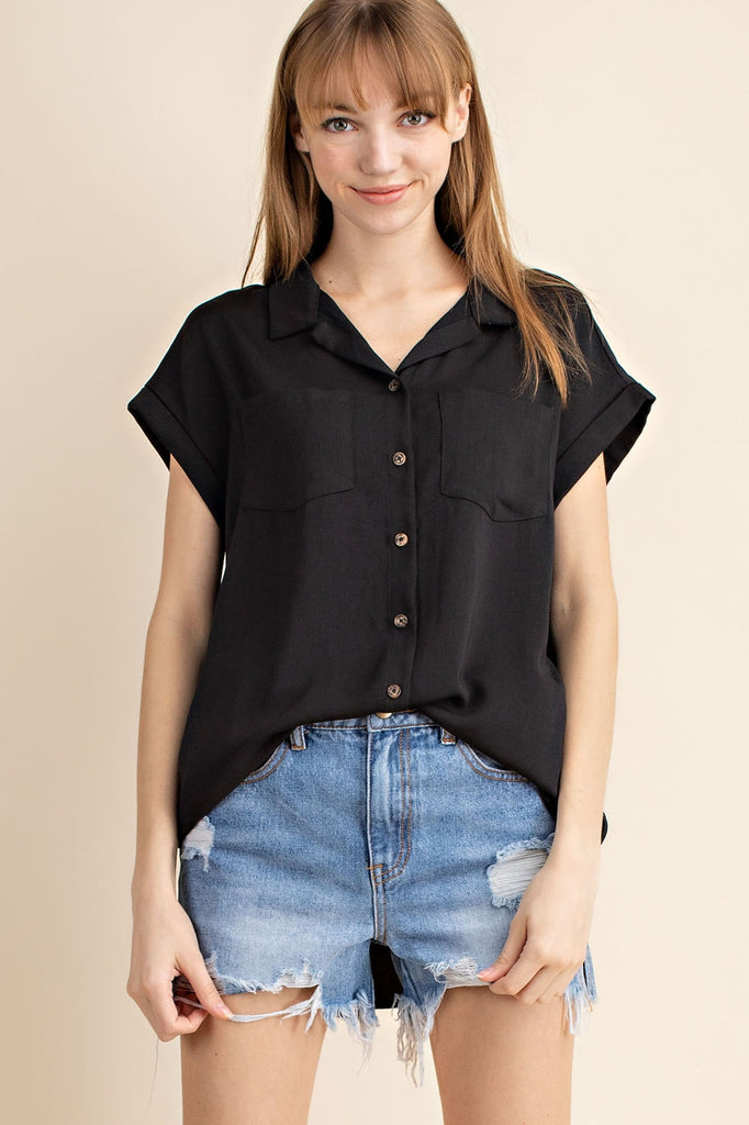 the Capsule Button Down Blouse | Black