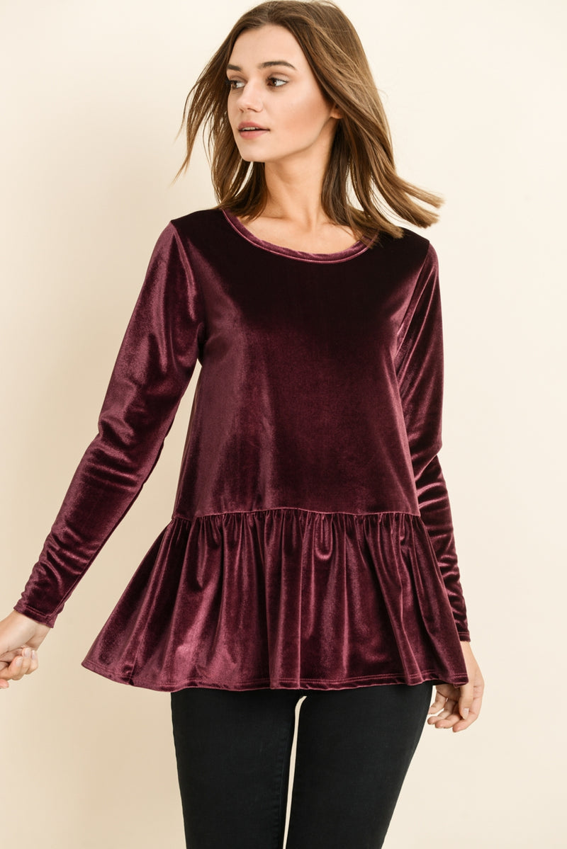 The Long Sleeve Peplum in Velvet