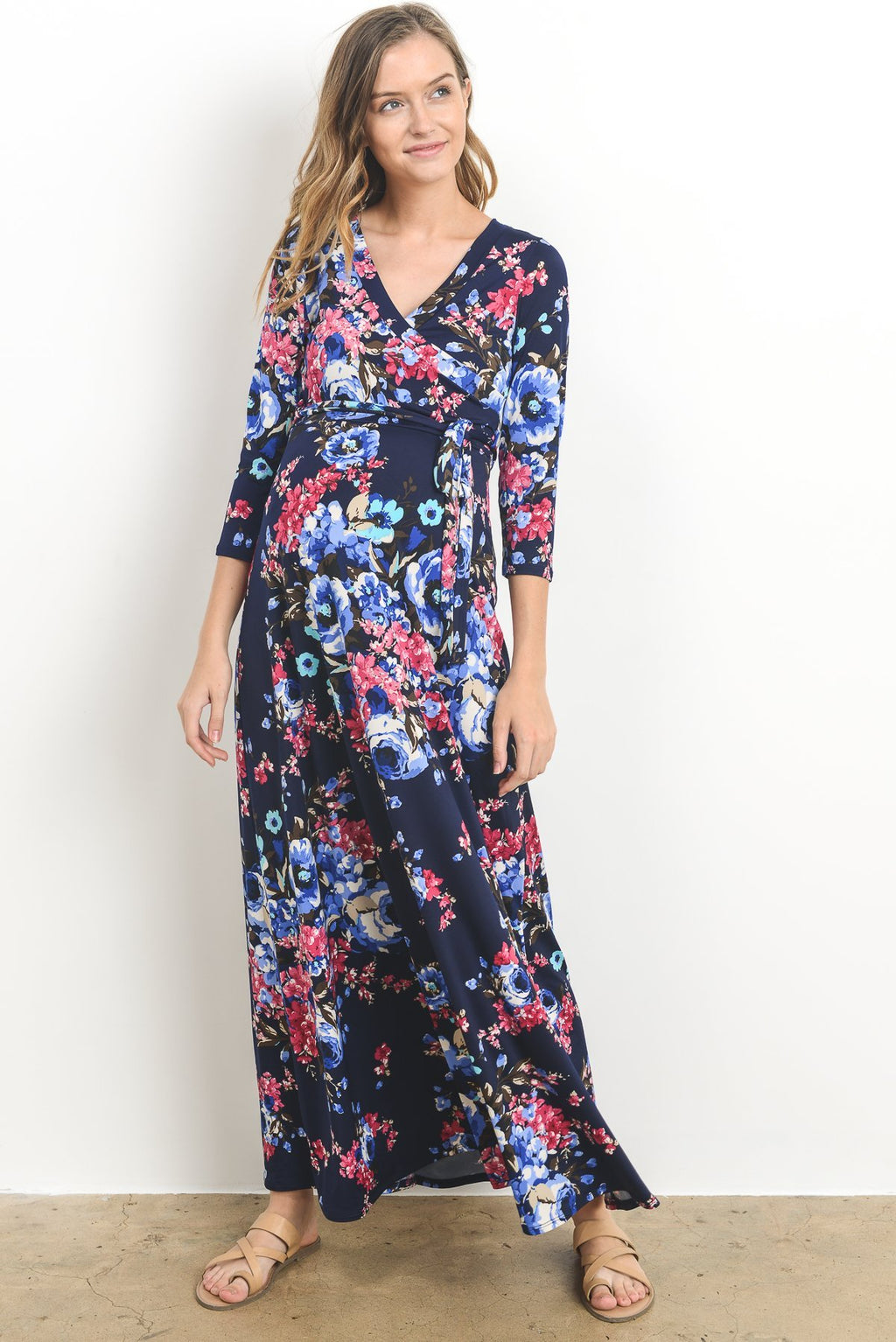 """Jessie"" Faux-Wrap Maxi Dress, Bright Navy Blooms"