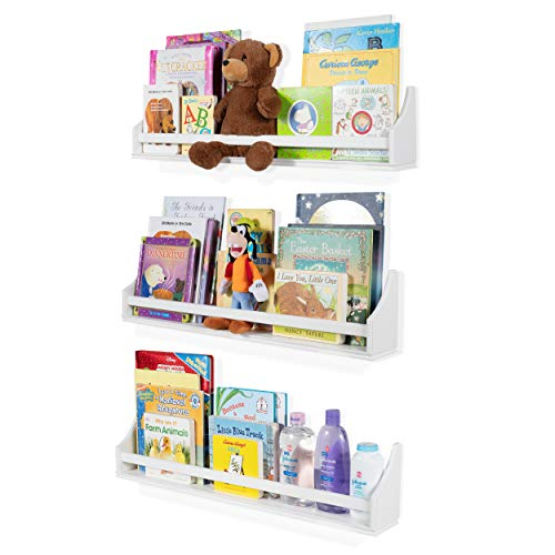 "Set of 3 Stylish Baby Nursery Room Wall Shelf Sturdy Birch Wood (Long (30""), white)"