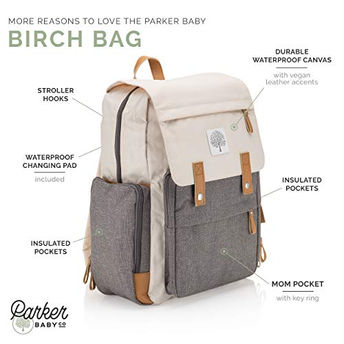"Parker Baby Diaper Backpack - Large Diaper Bag with Insulated Pockets, Stroller Straps and Changing Pad -""Birch Bag"" - Cream"