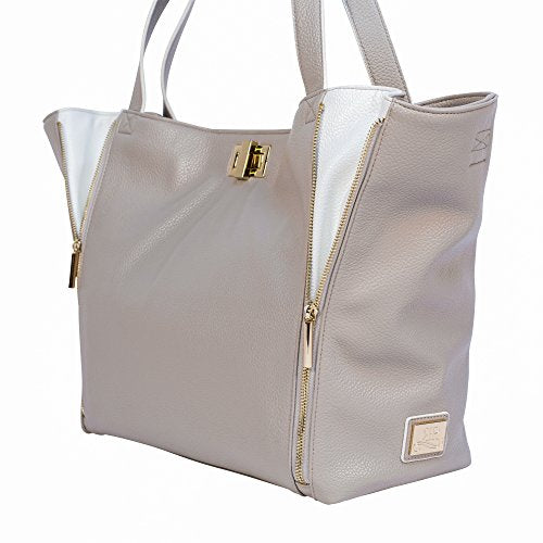 Rosie Pope Diaper Bag, Sloane Tote, Grey/White