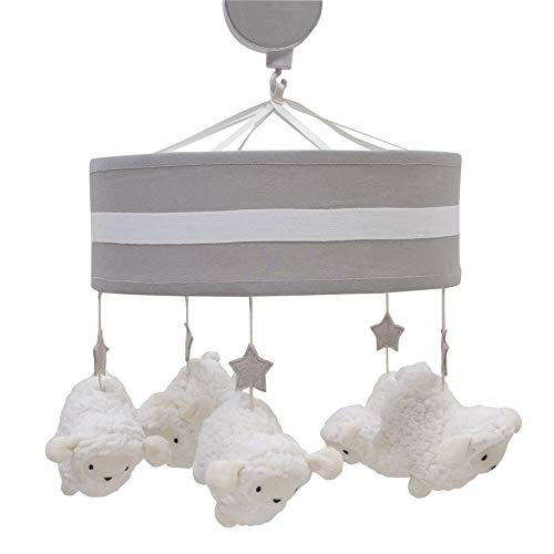 Lambs & Ivy Goodnight Sheep Crib Musical Mobile - White/Gray
