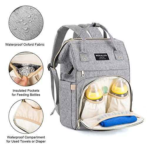 9e453b257cb97 Large Diaper Bag Backpack, Mokaloo Anti-Water Maternity Nappy Bags Changing  Bags with Insulated Pockets and Stroller Straps, Multi-functional Travel  Back ...