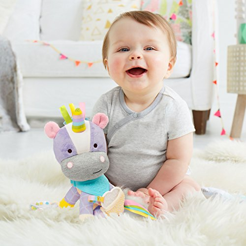 Skip Hop Bandana Buddies Baby Activity and Teething Toy with Multi-Sensory Rattle and Textures, Unicorn