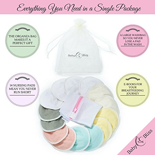 Natural Bamboo Nursing Pads |14 Pads+3 Bonus Items | With 3 Size Variants | Reusable | Soft & Super absorbent | Leak-proof | With Laundry & Organza Bags | Perfect Baby Shower Gift
