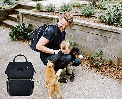 Wide Open Designed Baby Diaper Bag, Ticent Multi-Function Travel Backpack Nappy Tote Bags for Mom & Dad, Large Capacity, Black
