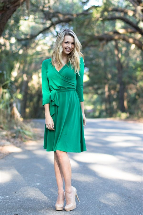 Jillian Wrap Midi Dress in Green