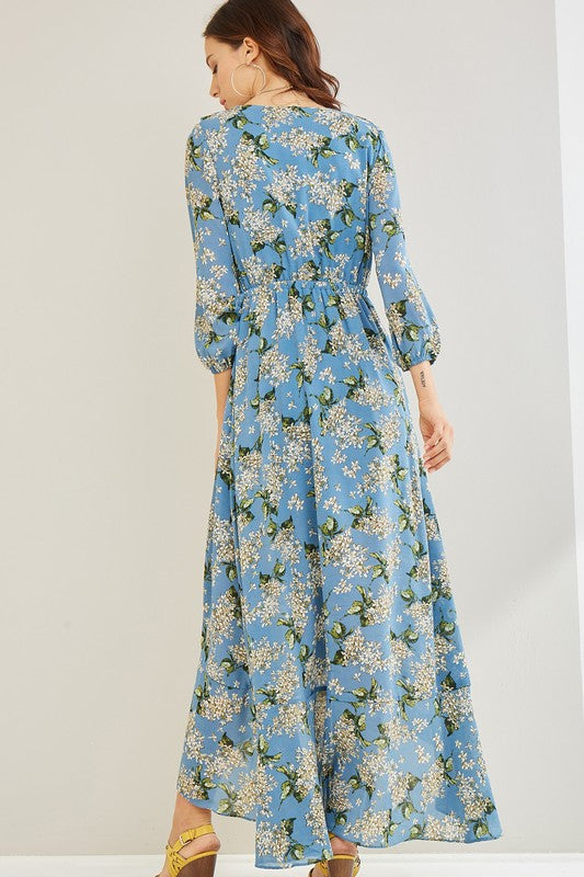 Fara Blue Daisy Maxi Dress