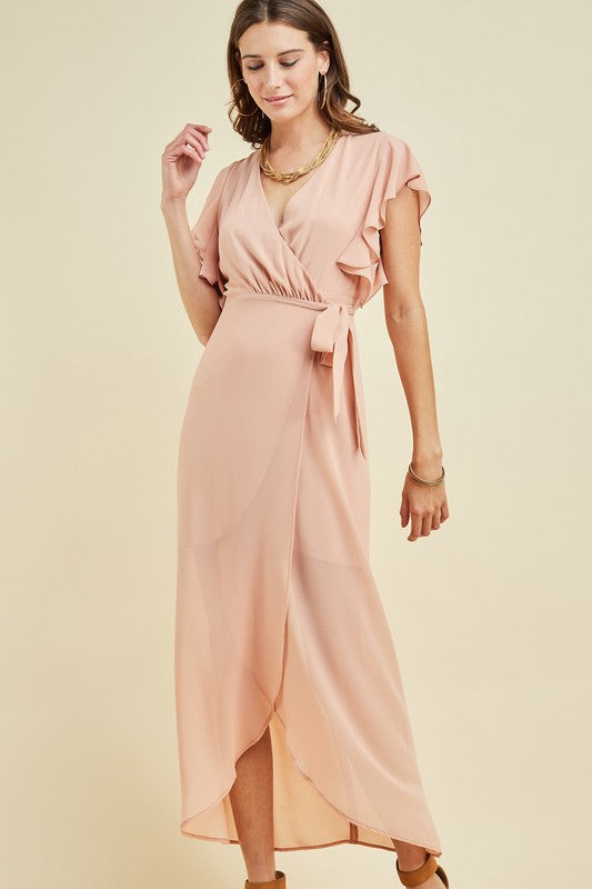 August Blush Chiffon Wrap Maxi Dress