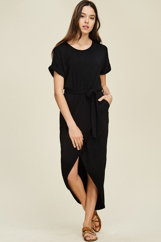 Black Tulip Hem Maxi Dress