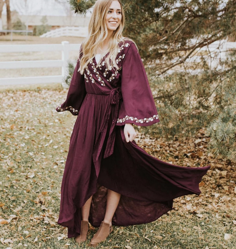 Eggplant Embroidered Wrap Dress