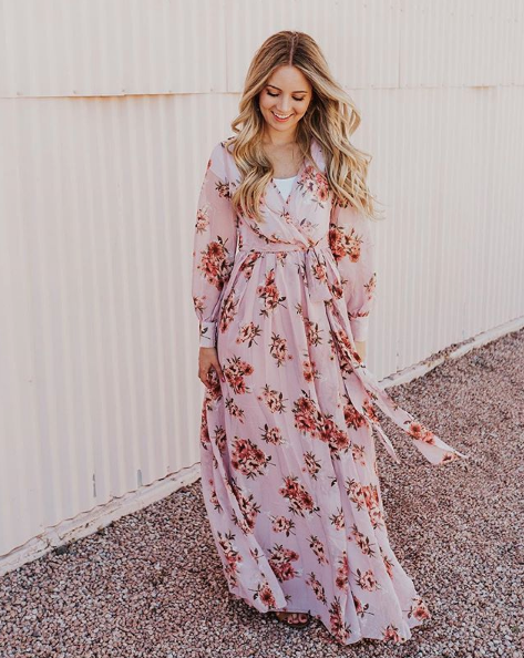 Jennifer Floral Chiffon Wrap Maxi Dress in Mauve Blooms