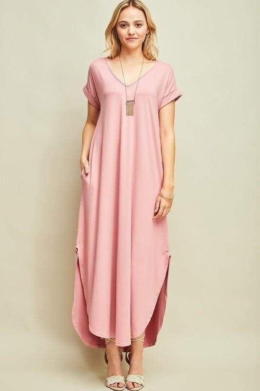 Abigail Blush T-Shirt Pocket Maxi Dress - DRESSES - Affordable Boutique Fashion