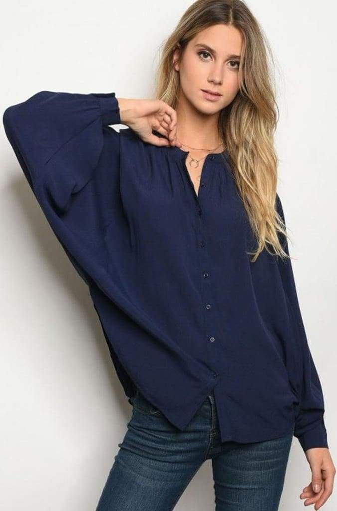All Day Essentials Blouse | Navy - Tops - Affordable Boutique Fashion