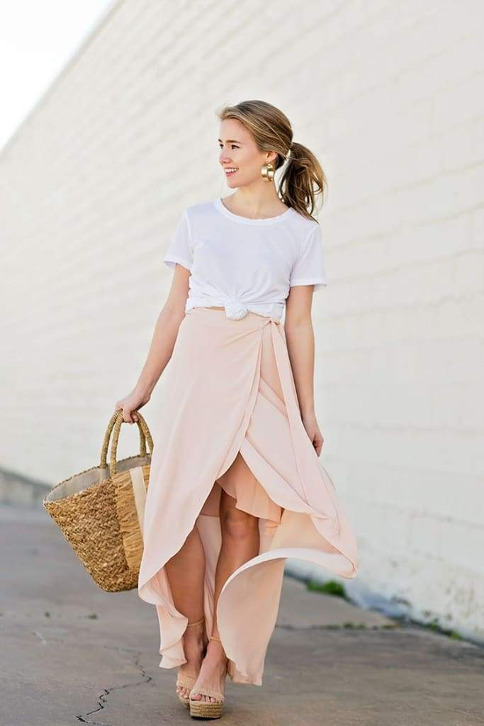 Amanda Blush Wrap Maxi Skirt - SKIRT - Affordable Boutique Fashion