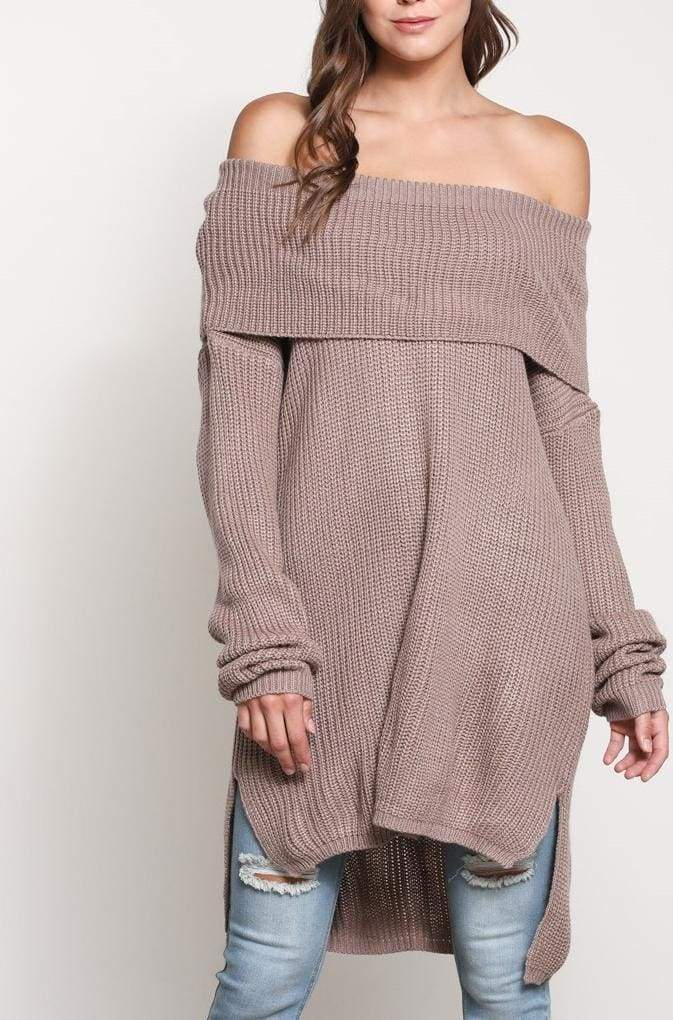 Aspen Oversized Knit Sweater - Mauve - - SWEATER - Affordable Boutique Fashion
