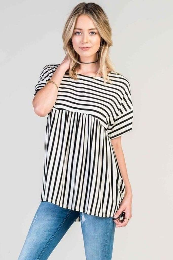 Beethoven Relaxed Striped Peplum Tunic - Tops - Affordable Boutique Fashion