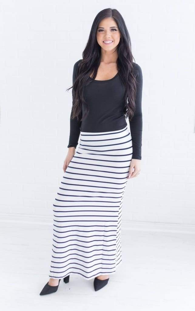 Bella Striped Maxi Skirt - Bottoms - Affordable Boutique Fashion