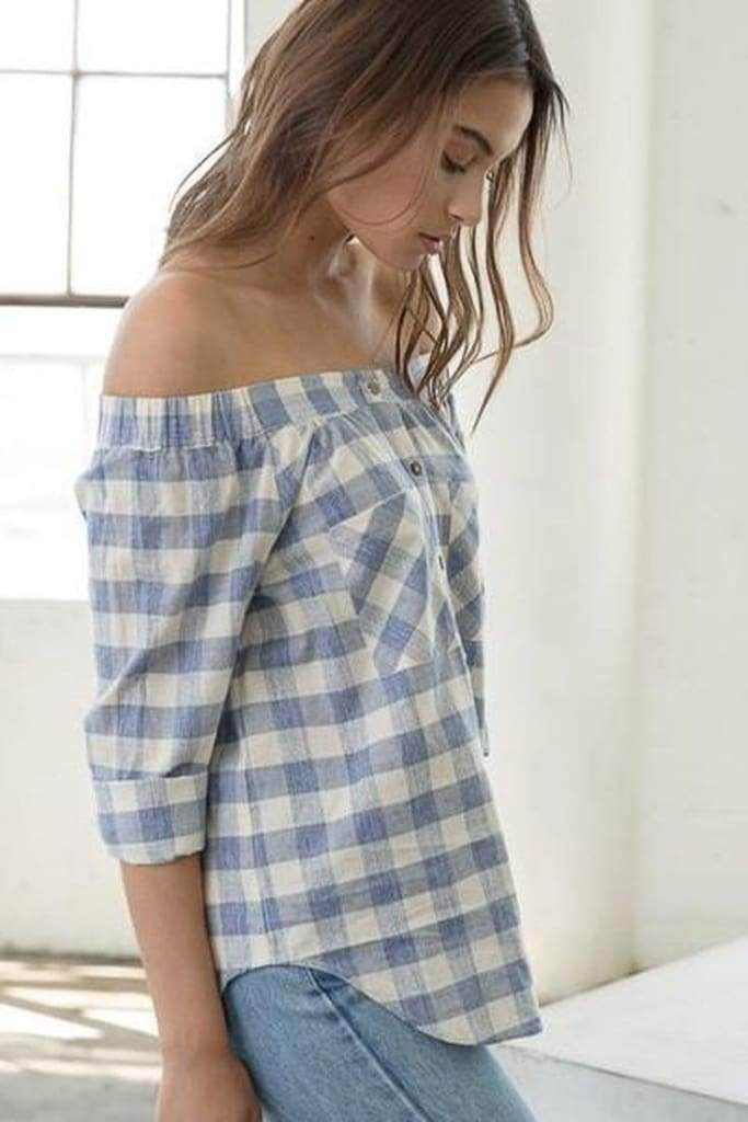 Bellamie Gingham Blouse - Tops - Affordable Boutique Fashion