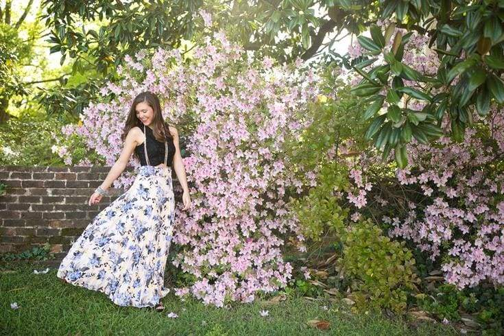 Bianca Floral Pleated Maxi Skirt - Bottoms - Affordable Boutique Fashion