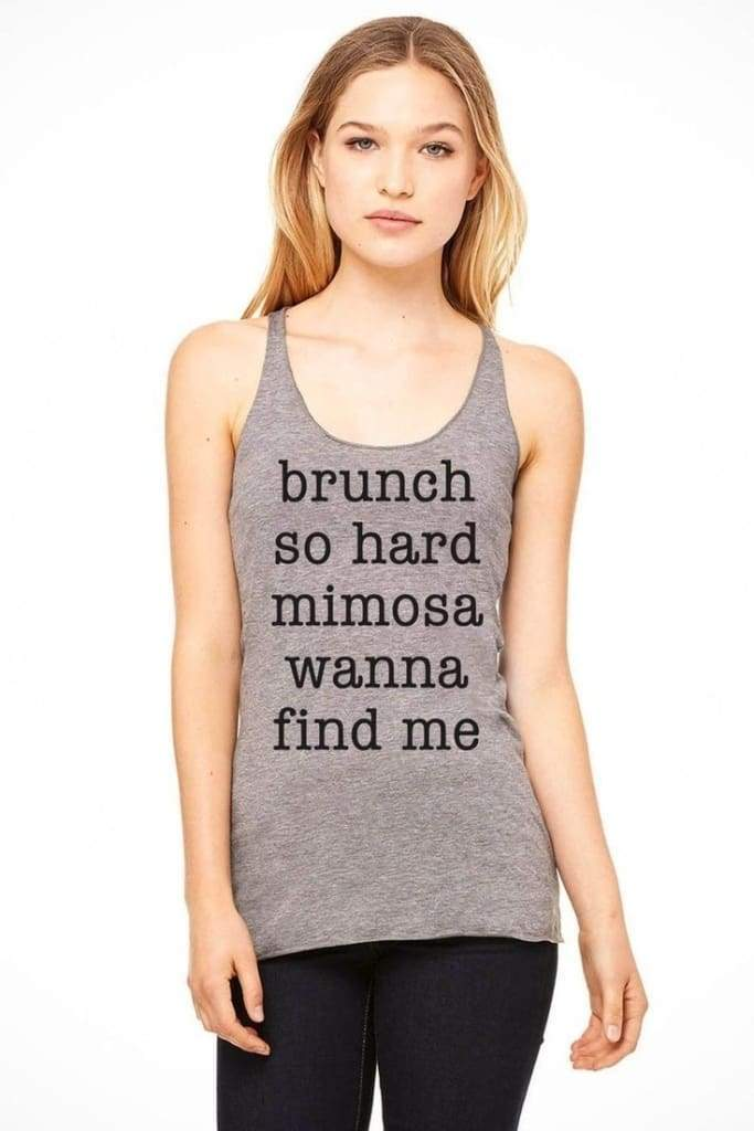 Brunch So Hard Graphic Tank - Grey - graphic top - Affordable Boutique Fashion